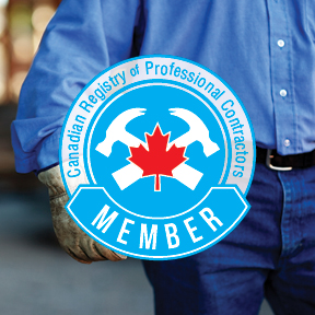 Canadian Registry of Professional Contractors logo, web, eblast and hardcover book